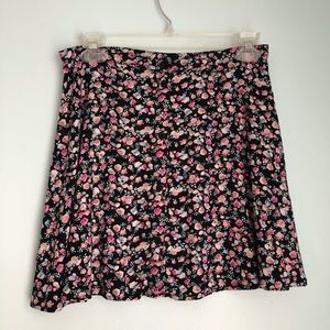 H&M Black Floral Button Up Skirt